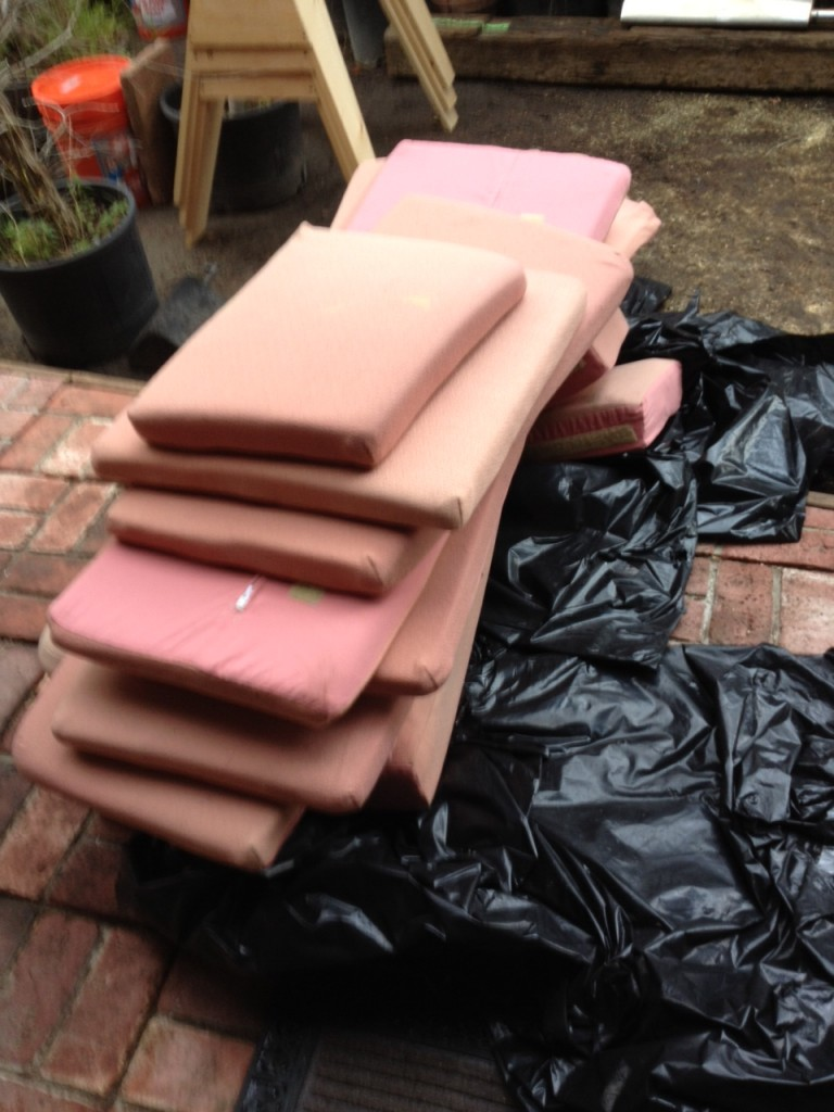 This the stack of backrest cushions from Merilee, about 1/3 of the total cushion volume.