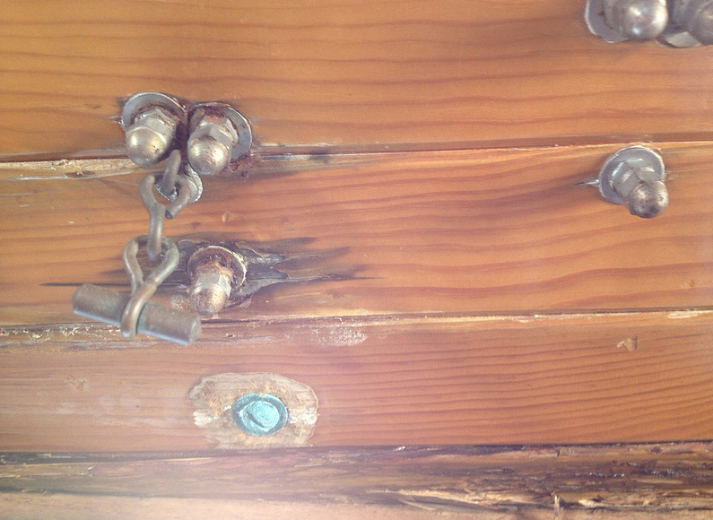 There are numerous water stains around deck hardware bolts in the ceiling.  The deck hardware needs to be rebedded, but the wood would require replacement, ...or would it?